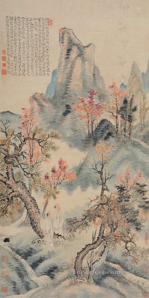 Shitao red leaves in autumn old Chinese Oil Paintings