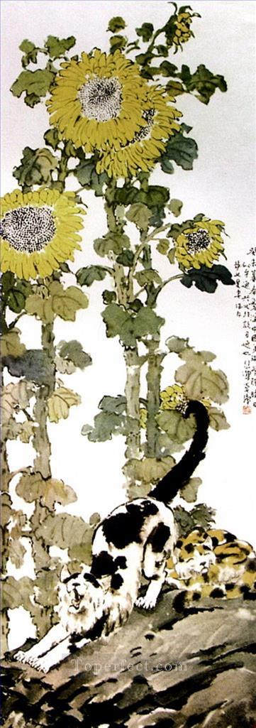 Xu Beihong sunflowers old Chinese Oil Paintings