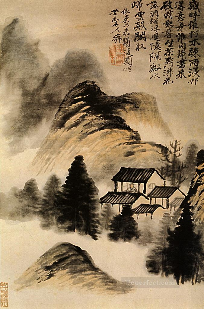 Shitao the hermit lodge in the middle of the table 1707 antique Chinese Oil Paintings