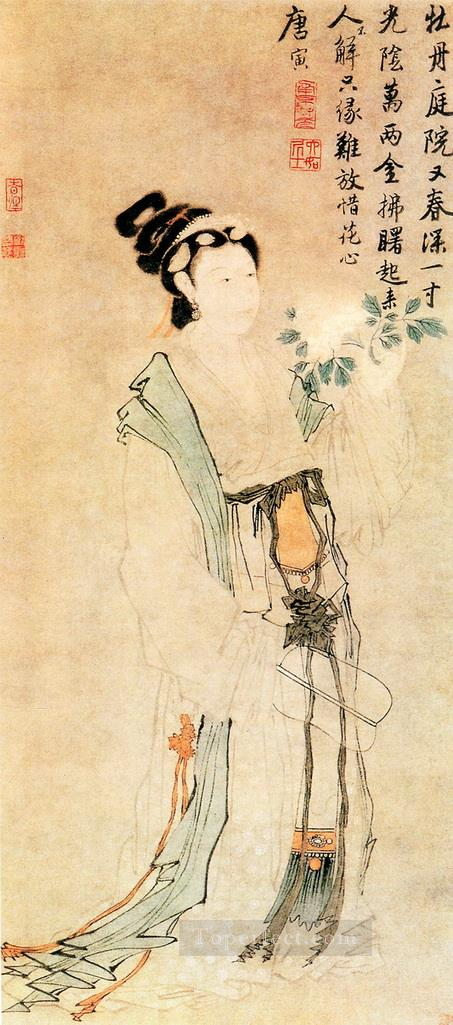 Tang yin peony and maiden antique Chinese Oil Paintings