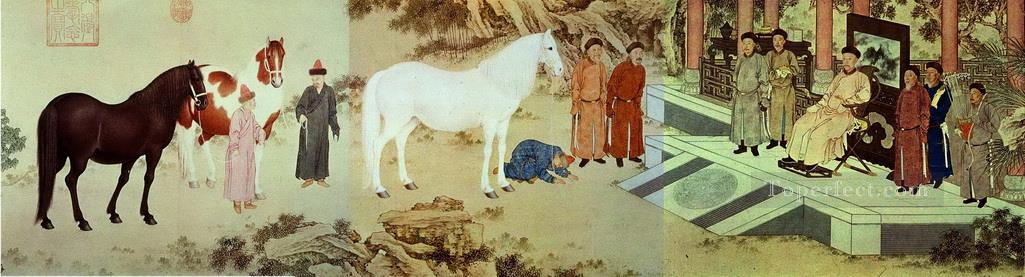Lang shining tribute of horses antique Chinese Oil Paintings