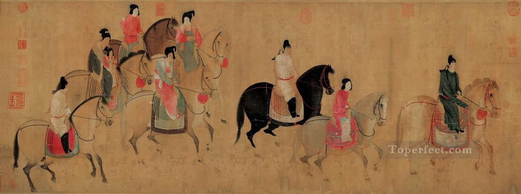 The Portrait of Madame Guo Quo Going Sightseeing in Spring zhang xuan traditional Chinese Oil Paintings