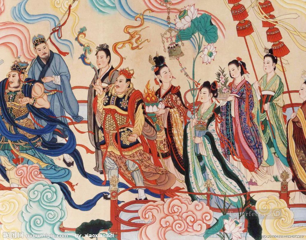 Wu daozi antique chinese painting in oil for sale for Chinese mural painting