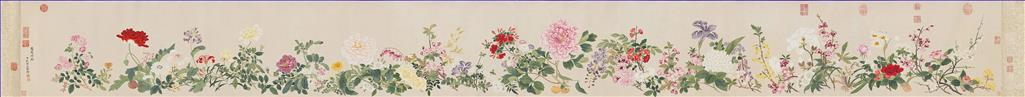 Qian weicheng flowers antique Chinese Oil Paintings
