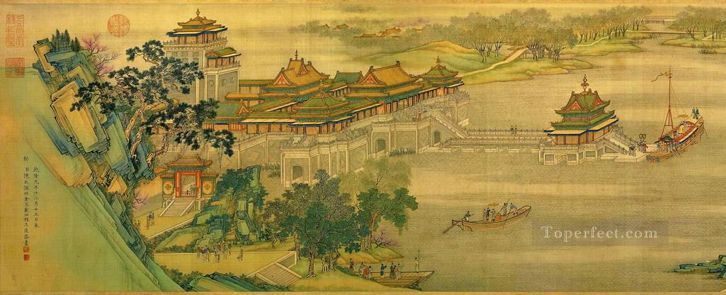 Zhang zeduan Qingming Riverside Seene part 1 antique Chinese Oil Paintings