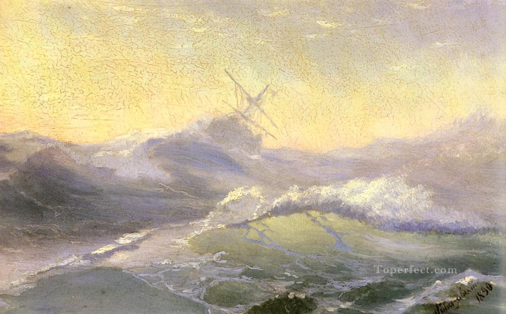 bracing the waves 1890 Romantic Ivan Aivazovsky Russian Oil Paintings