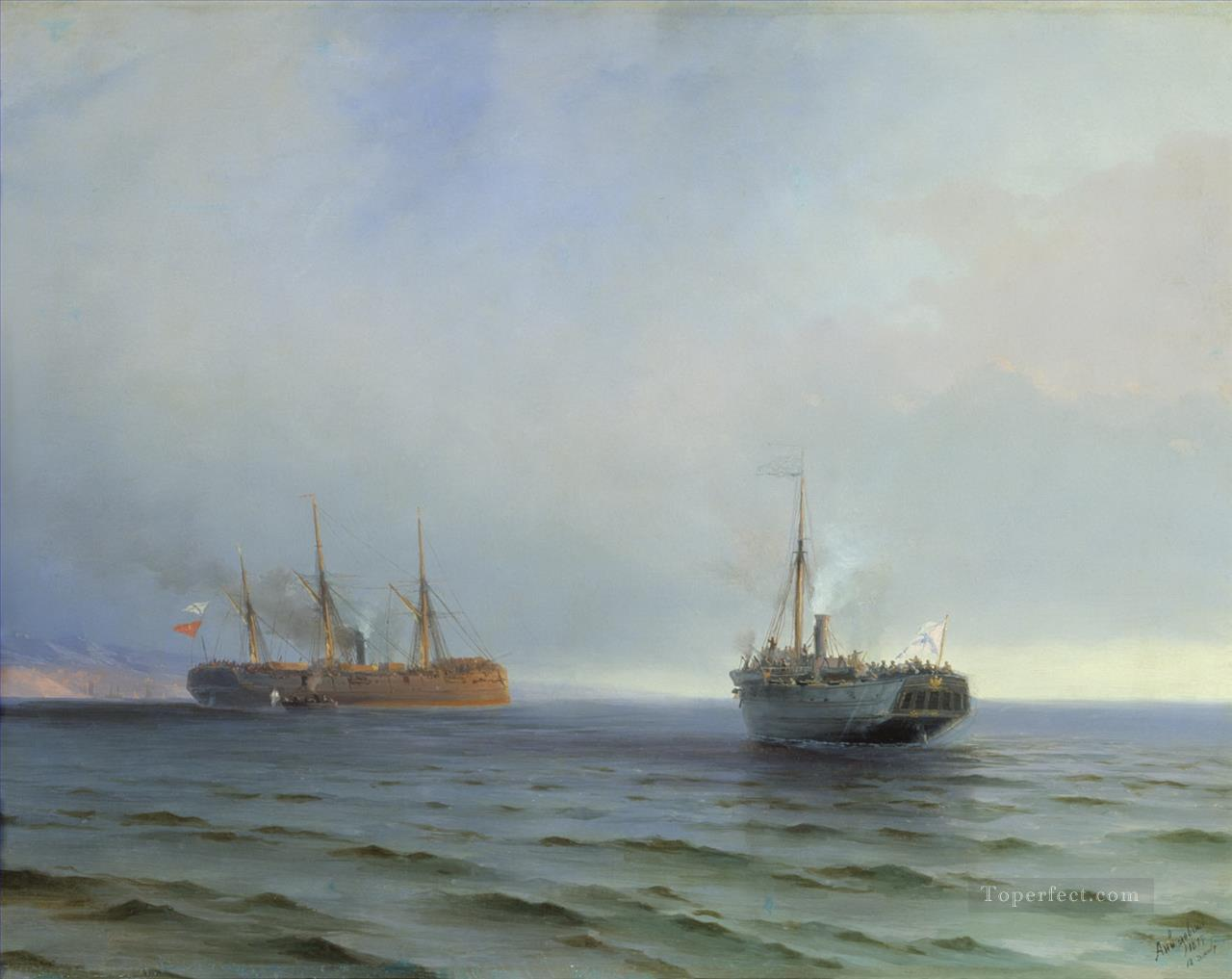 the capture of turkish nave on black sea Ivan Aivazovsky Painting in
