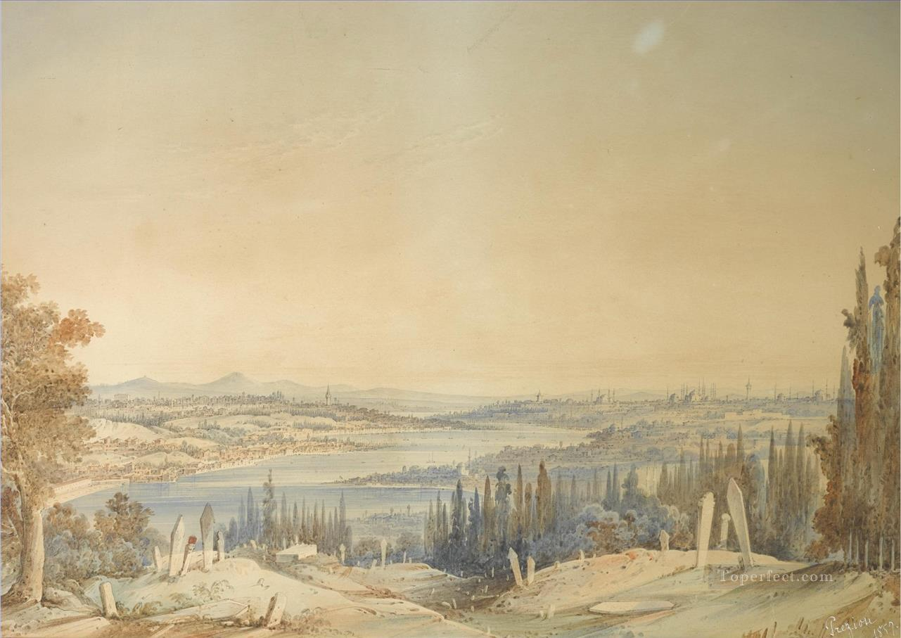 View of Constantinople from Eyup Amadeo Preziosi Neoclassicism Romanticism Oil Paintings