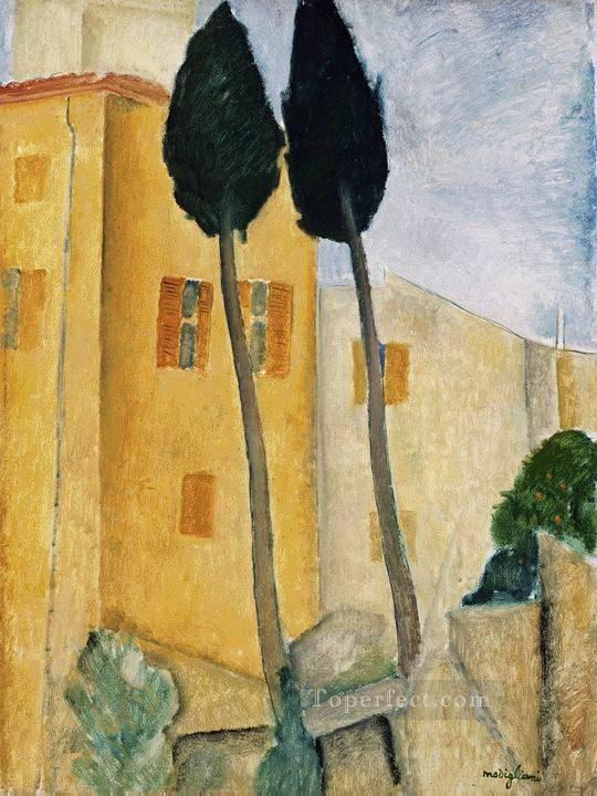 cypress trees and house 1919 Amedeo Modigliani Oil Paintings