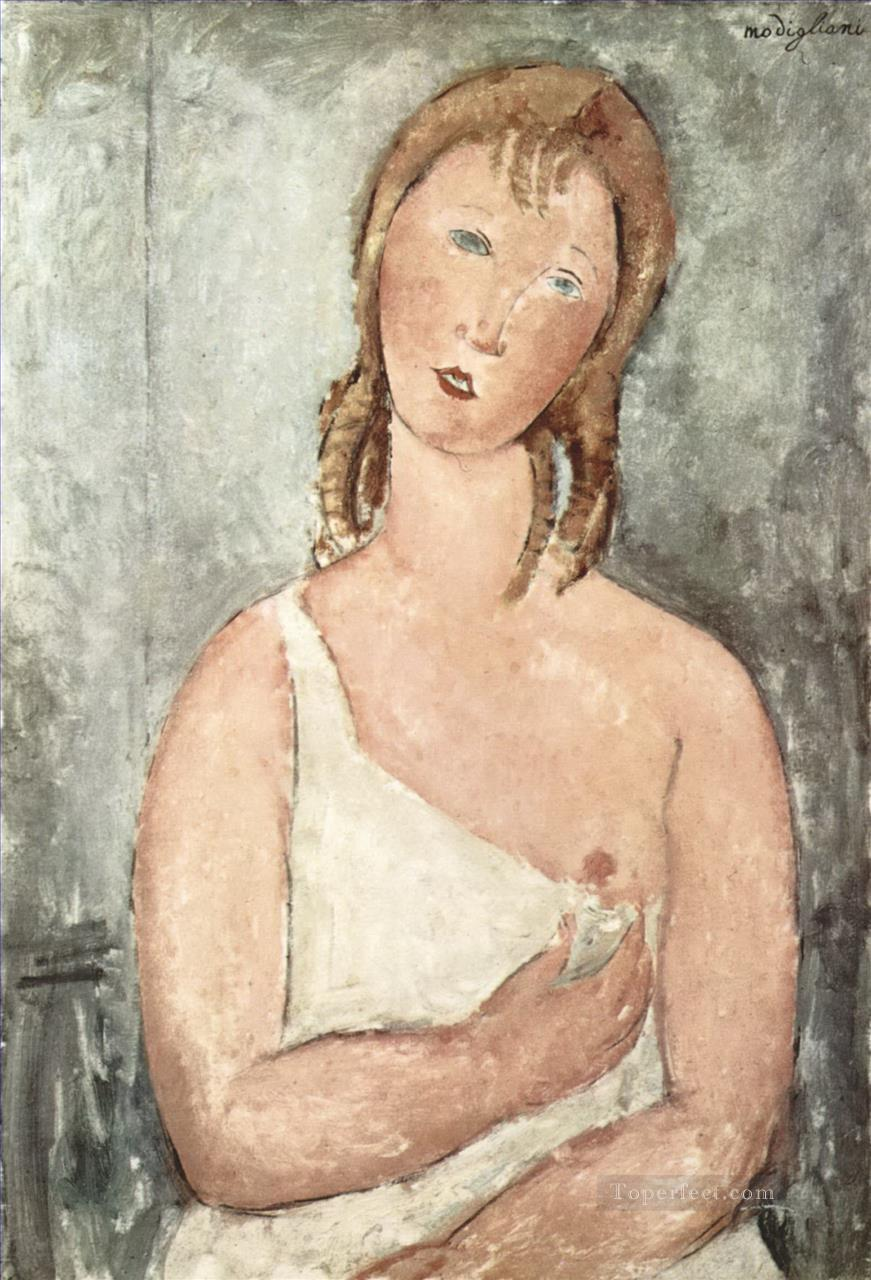 girl in the shirt red haired girl 1918 Amedeo Modigliani Oil Paintings
