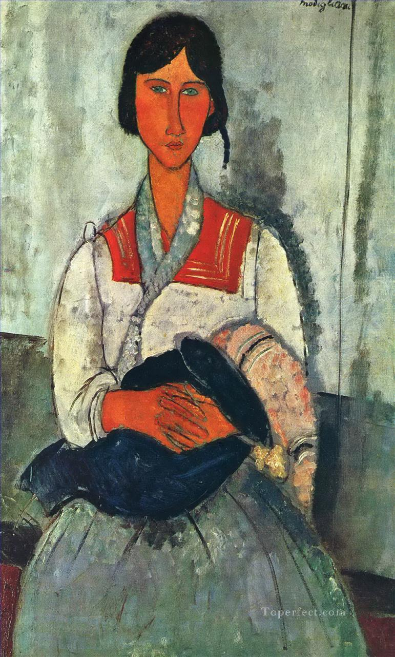 gypsy woman with a baby 1919 Amedeo Modigliani Oil Paintings