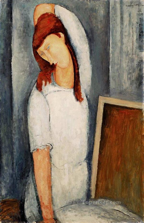 portrait of jeanne hebuterne with her left arm behind her head 1919 Amedeo Modigliani Oil Paintings