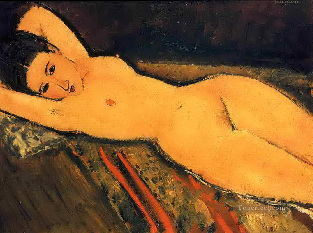 reclining nude with arms folded under her head 1916 Amedeo Modigliani Oil Paintings