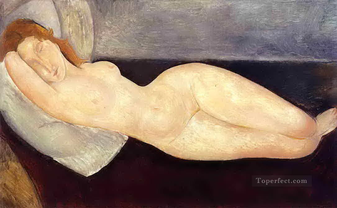 reclining nude with head resting on right arm 1919 Amedeo Modigliani Oil Paintings
