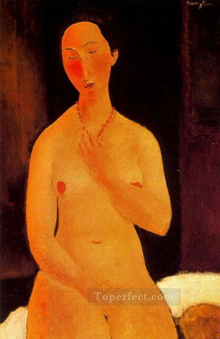 seated nude with necklace 1917 Amedeo Modigliani Oil Paintings