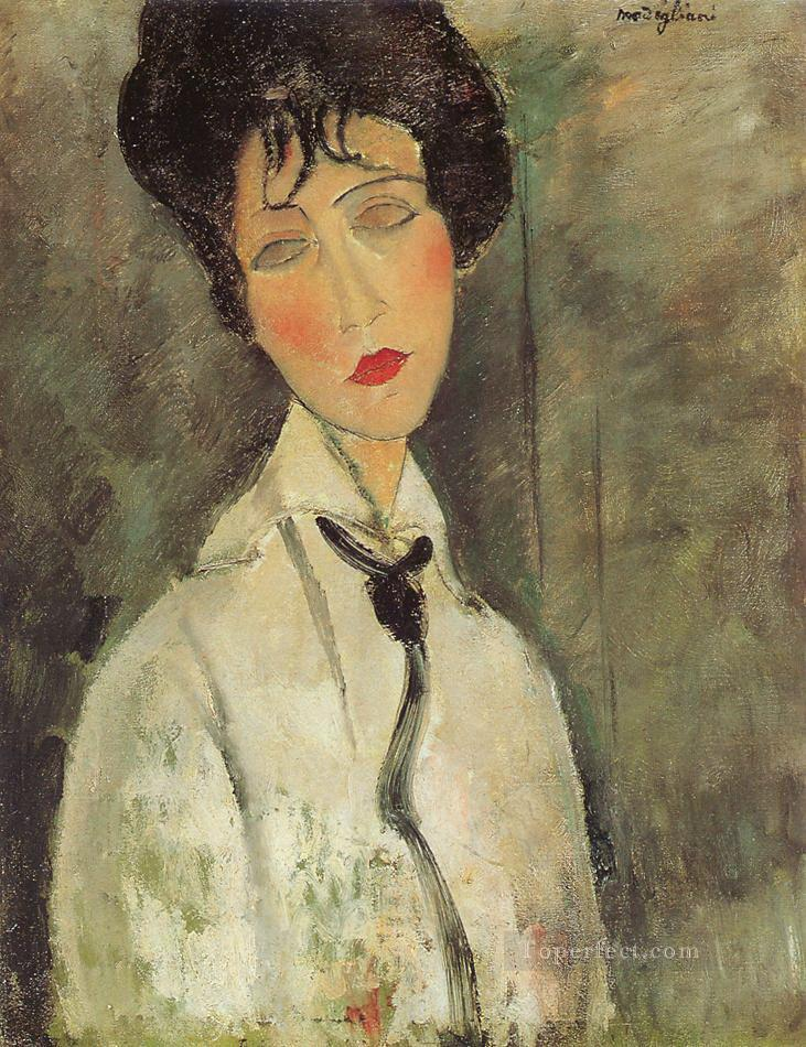 woman with a black tie 1917 Amedeo Modigliani Oil Paintings
