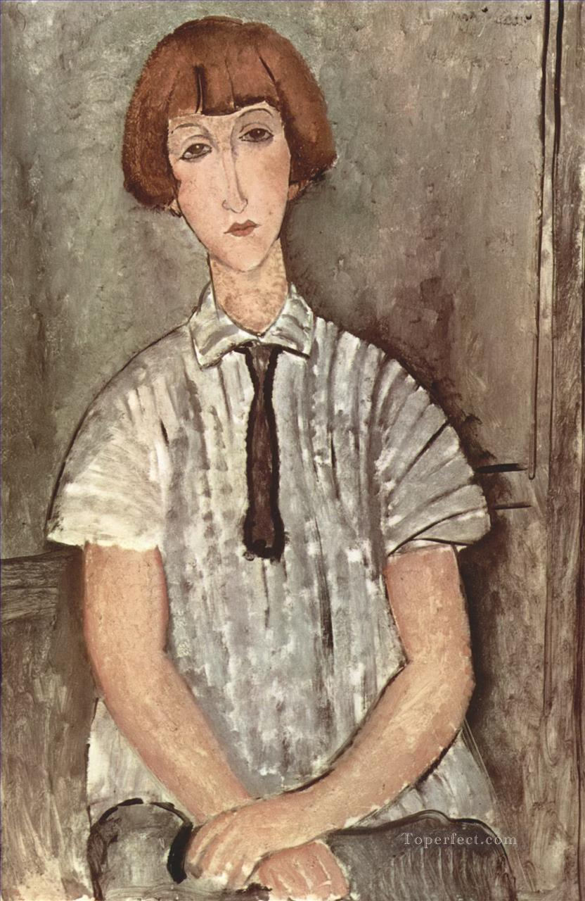 young girl in a striped shirt 1917 Amedeo Modigliani Oil Paintings
