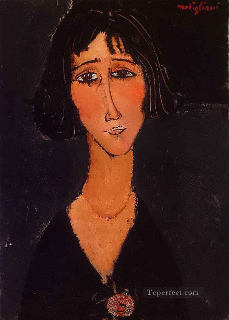 young girl wearing a rose 1916 Amedeo Modigliani Oil Paintings