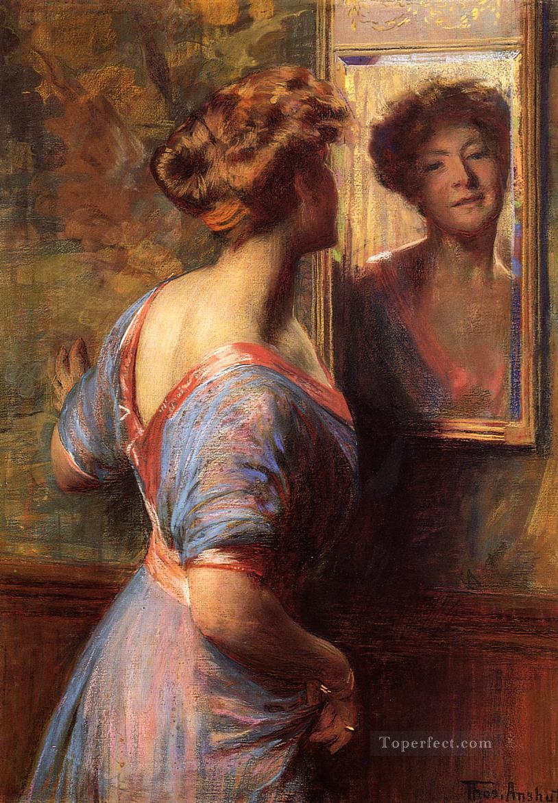 A Passing Glance naturalistic Thomas Pollock Anshutz Oil Paintings