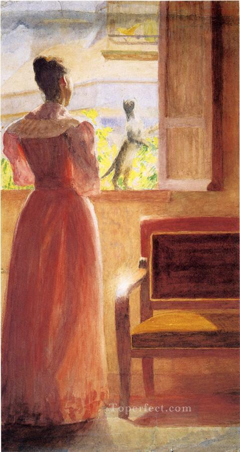 Lady by a Window naturalistic Thomas Pollock Anshutz Oil Paintings