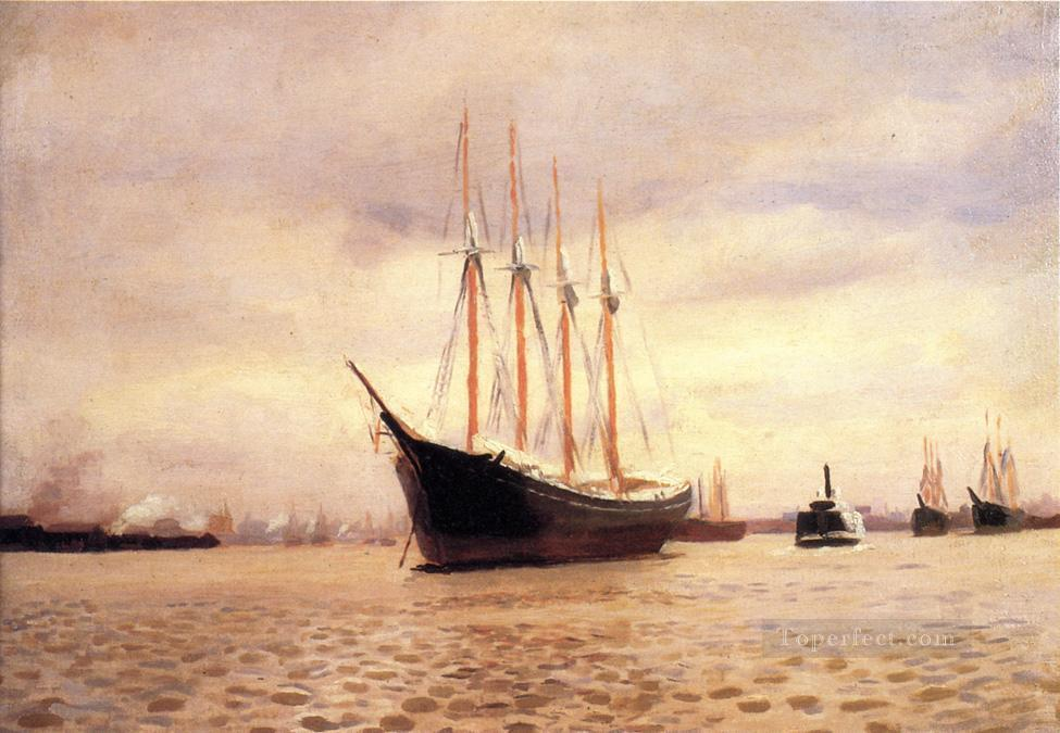 On the Delaware at Tacony naturalistic seascape Thomas Pollock Anshutz Oil Paintings