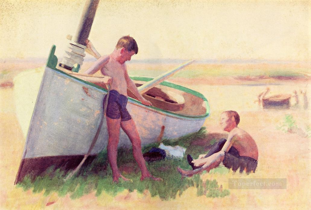 Two Boys by a Boat Near Cape May naturalistic Thomas Pollock Anshutz Oil Paintings