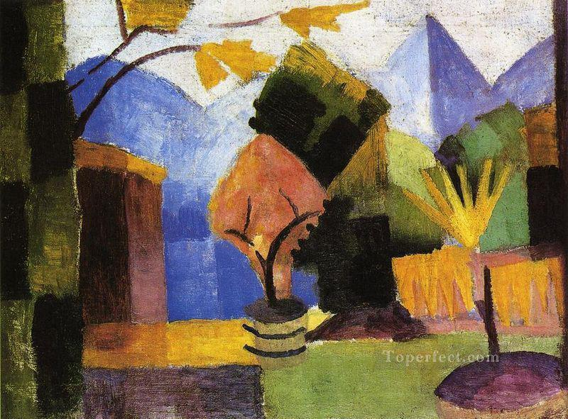 Garden on Lake of Thun August Macke Oil Paintings