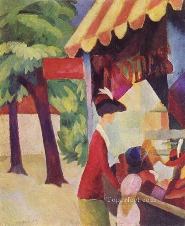 A Woman With Red Jacket And Child Before The Hat Store August Macke Oil Paintings