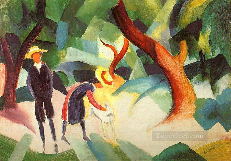 Children with Goat Kindermit Ziege August Macke Oil Paintings