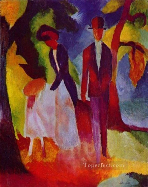 Family At The Blue Lake August Macke Oil Paintings