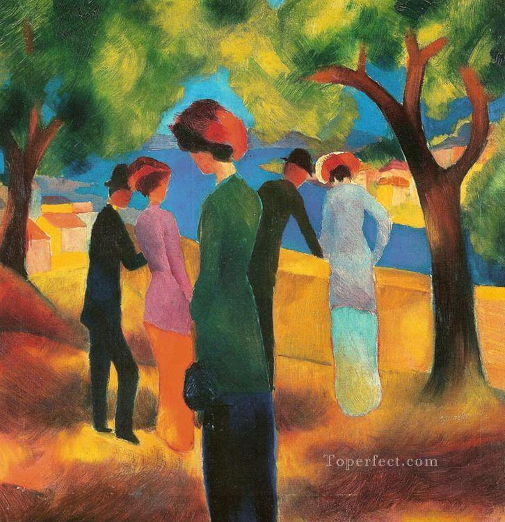 Lady in a Green Jacket August Macke Oil Paintings