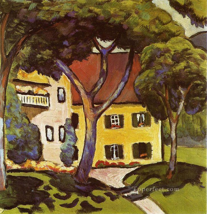 Staudachers House at Tegernsee August Macke Oil Paintings