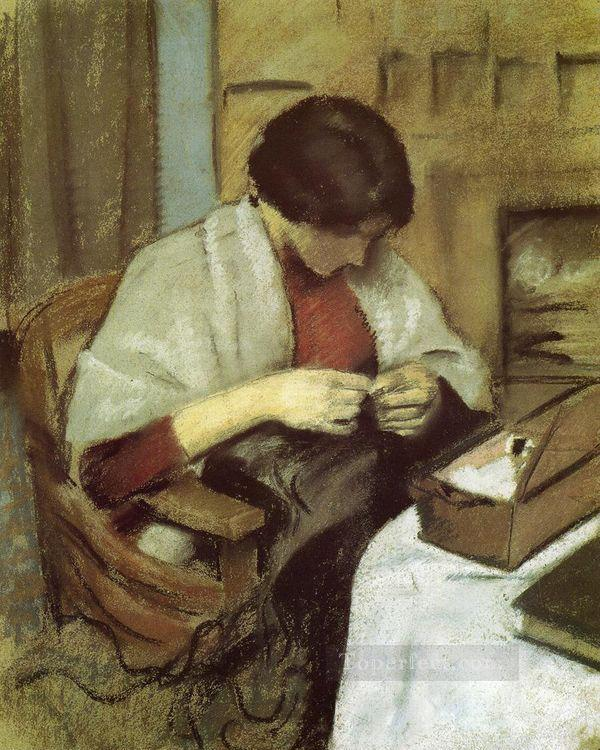 Elisabeth Gerhardt Sewing Elisabeth Gerhardt Nahend August Macke Oil Paintings