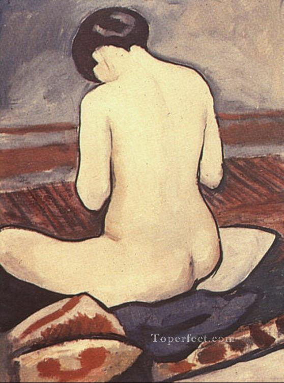 Sitting Nude with Cushions Sitzender Aktmit Kissen August Macke Oil Paintings