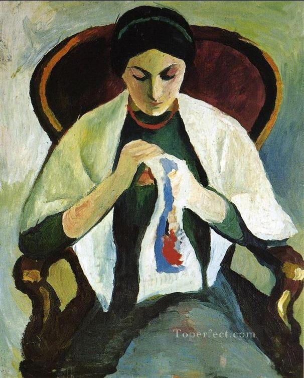 Woman Embroidering in an Armchair Portrait of the Artists Wife August Macke Oil Paintings
