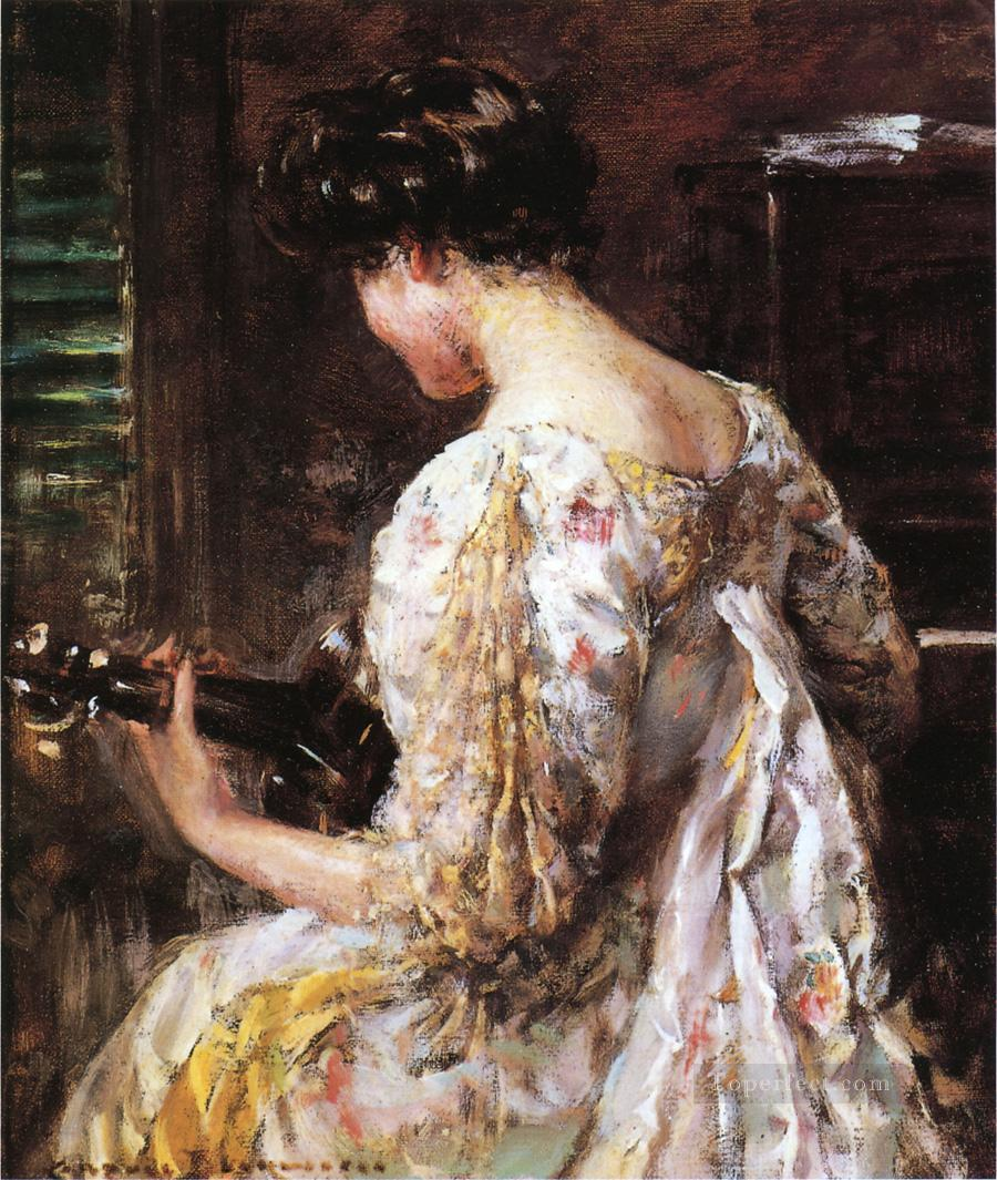Woman with Guitar impressionist James Carroll Beckwith Oil Paintings