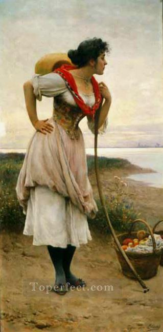 Fruit Vendor lady Eugene de Blaas Oil Paintings