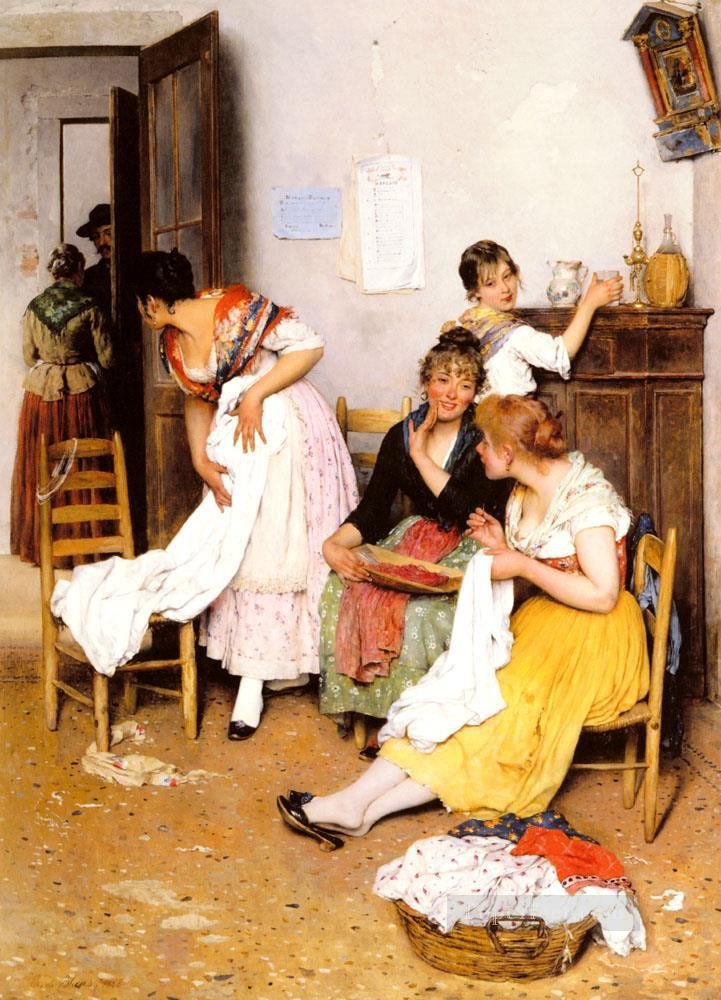 De The New Suitor lady Eugene de Blaas Oil Paintings