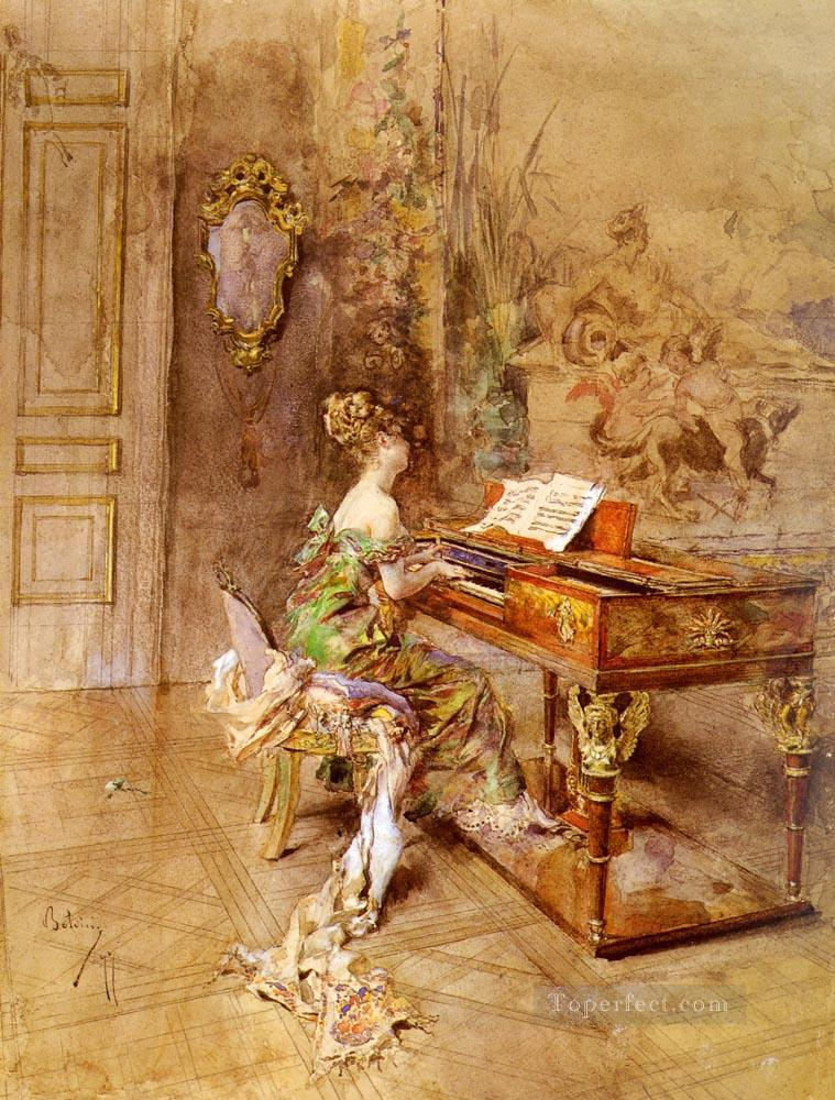 La Pianista genre Giovanni Boldini Oil Paintings