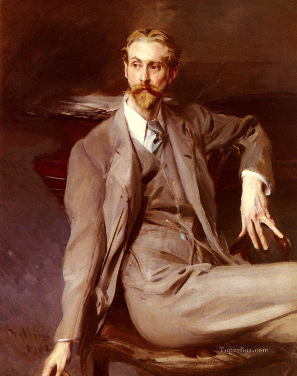 Portrait Of The Artist Lawrence Alexander Harrison genre Giovanni Boldini Oil Paintings