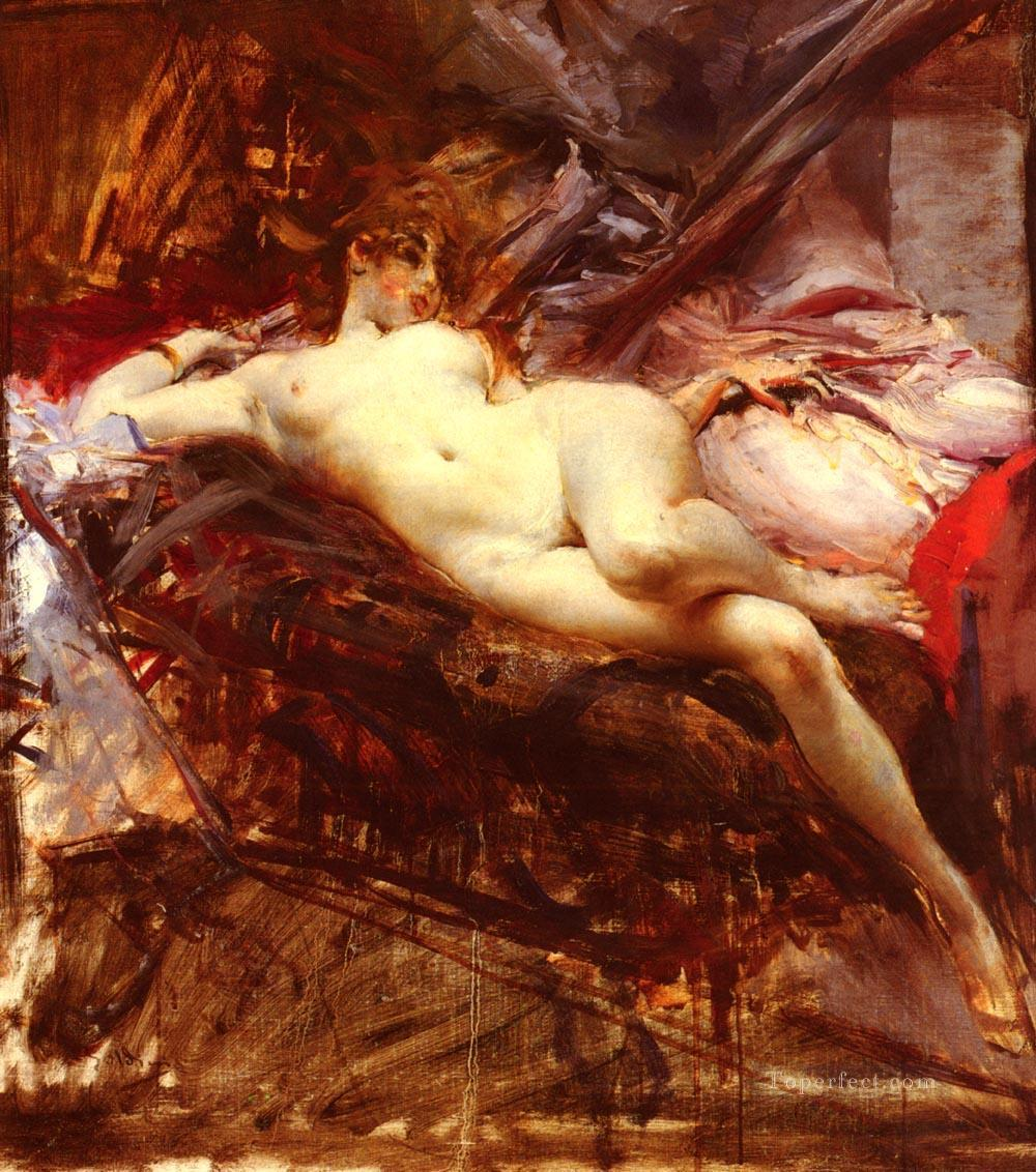 Reclining Nude genre Giovanni Boldini Oil Paintings