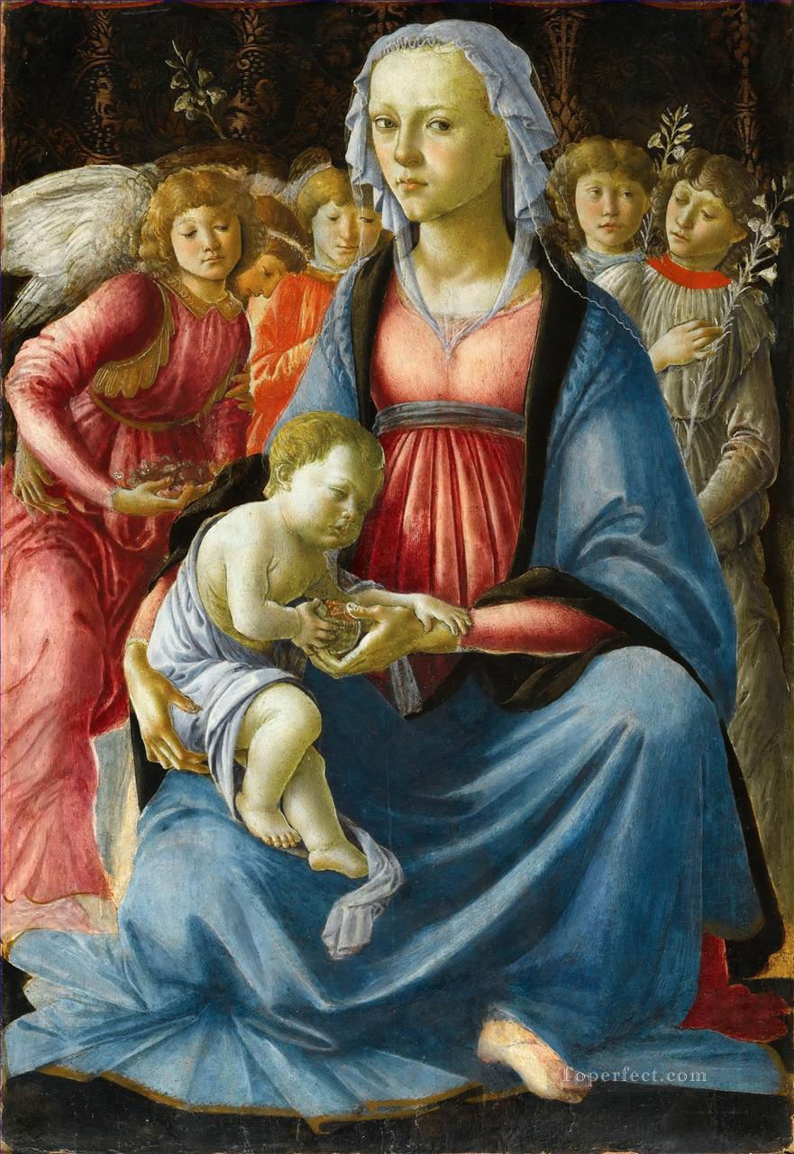 Sandro The Virgin with the child and five angels Sandro Botticelli Oil Paintings