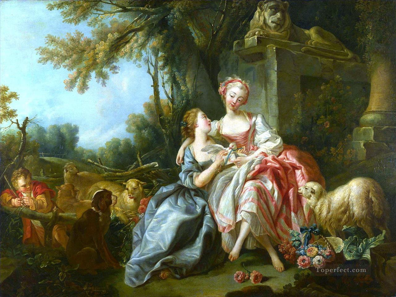 The Love Letter pink Francois Boucher Oil Paintings