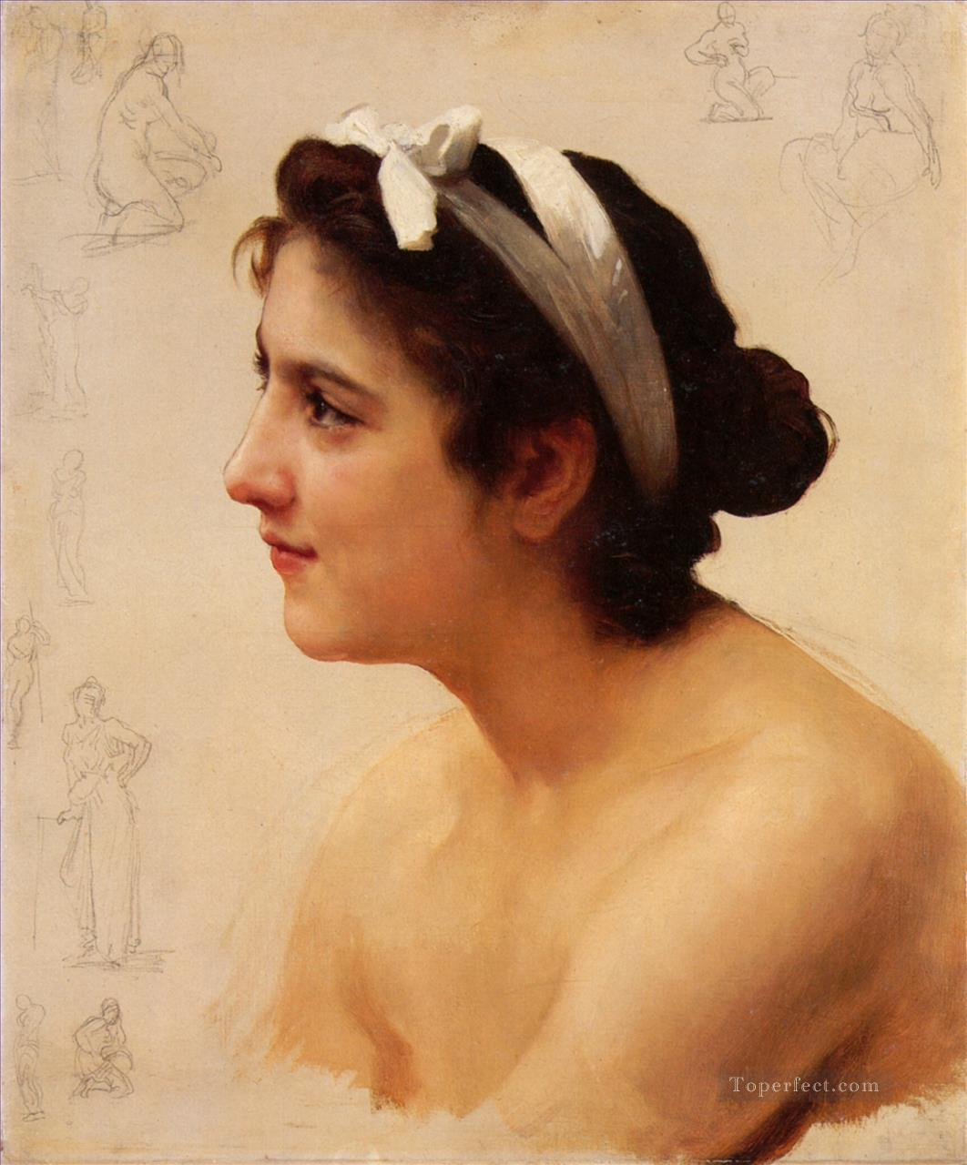 Etude dune femme pour Offrande a lAmour Realism William Adolphe Bouguereau Oil Paintings