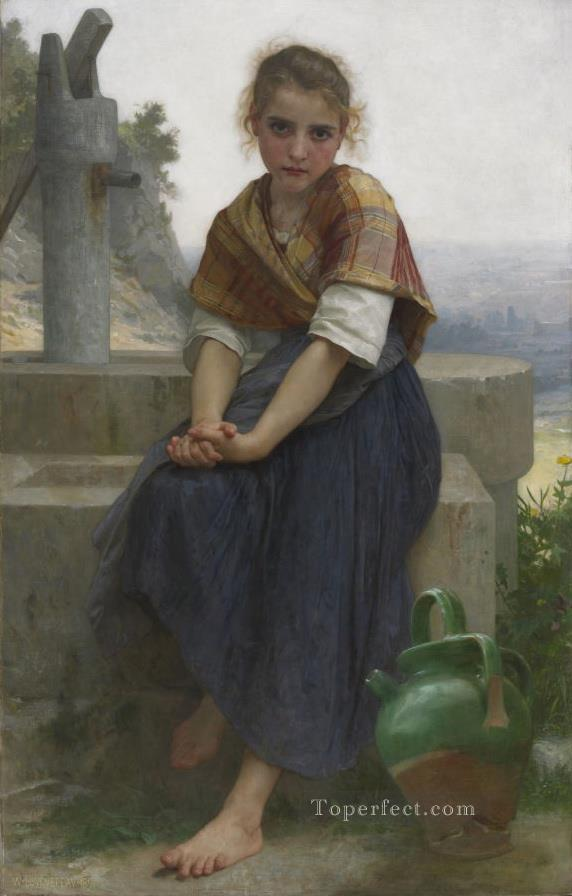 The Broken Pitcher Realism William Adolphe Bouguereau Oil Paintings