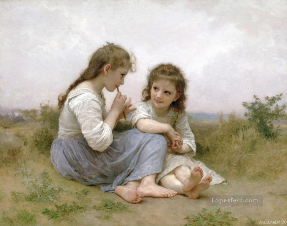 Idylle enfantine Realism William Adolphe Bouguereau Oil Paintings