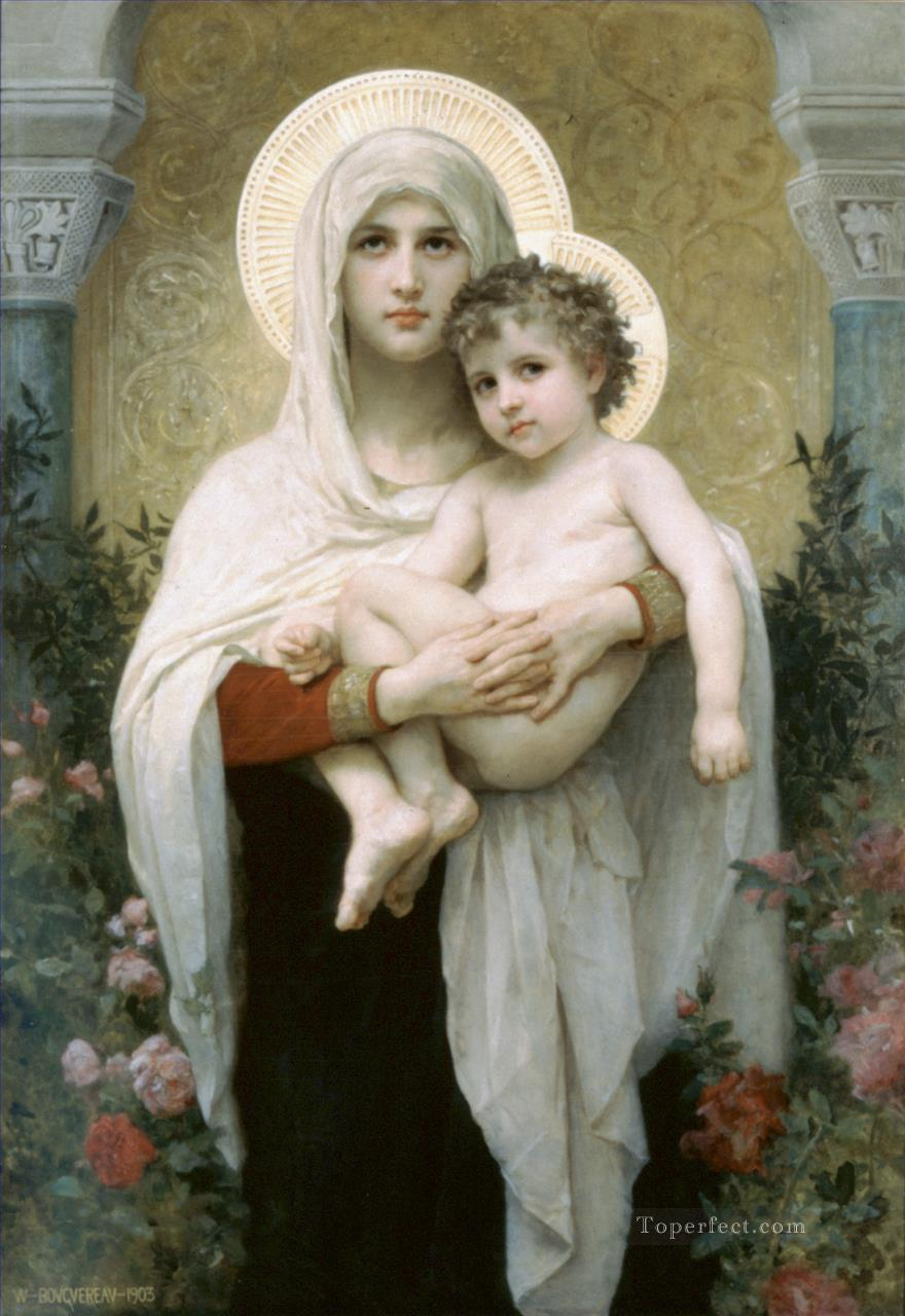 La madone aux roses Realism William Adolphe Bouguereau Oil Paintings