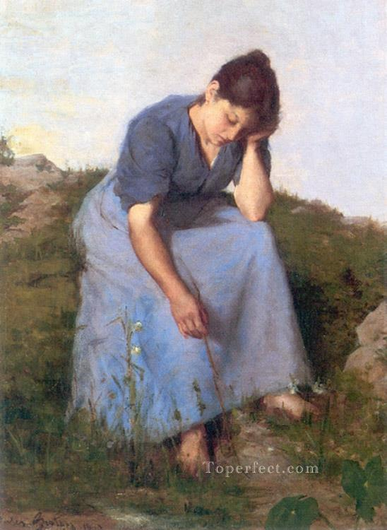 Young Woman in a Field countryside Realist Jules Breton Oil Paintings