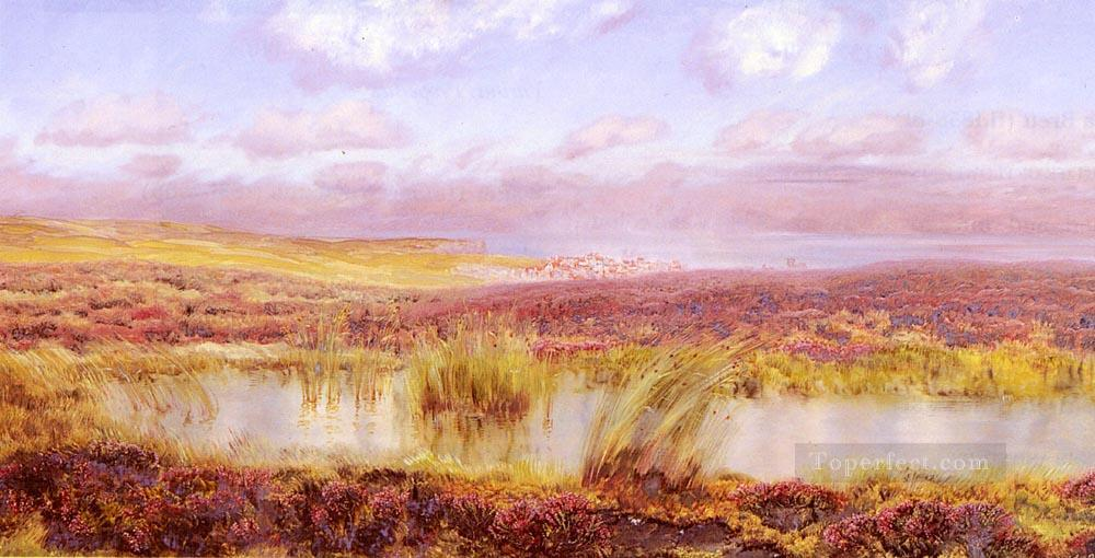 A View Of Whitby From The Moors landscape Brett John Oil Paintings