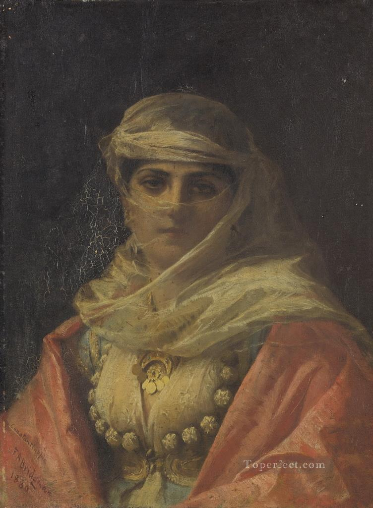 A TURKISH BEAUTY Frederick Arthur Bridgman Painting in Oil for Sale